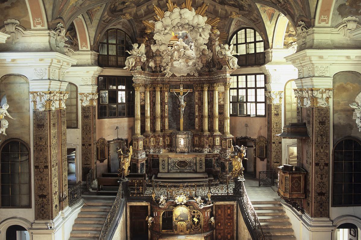 Vue intérieure de l'église du château de Rastatt