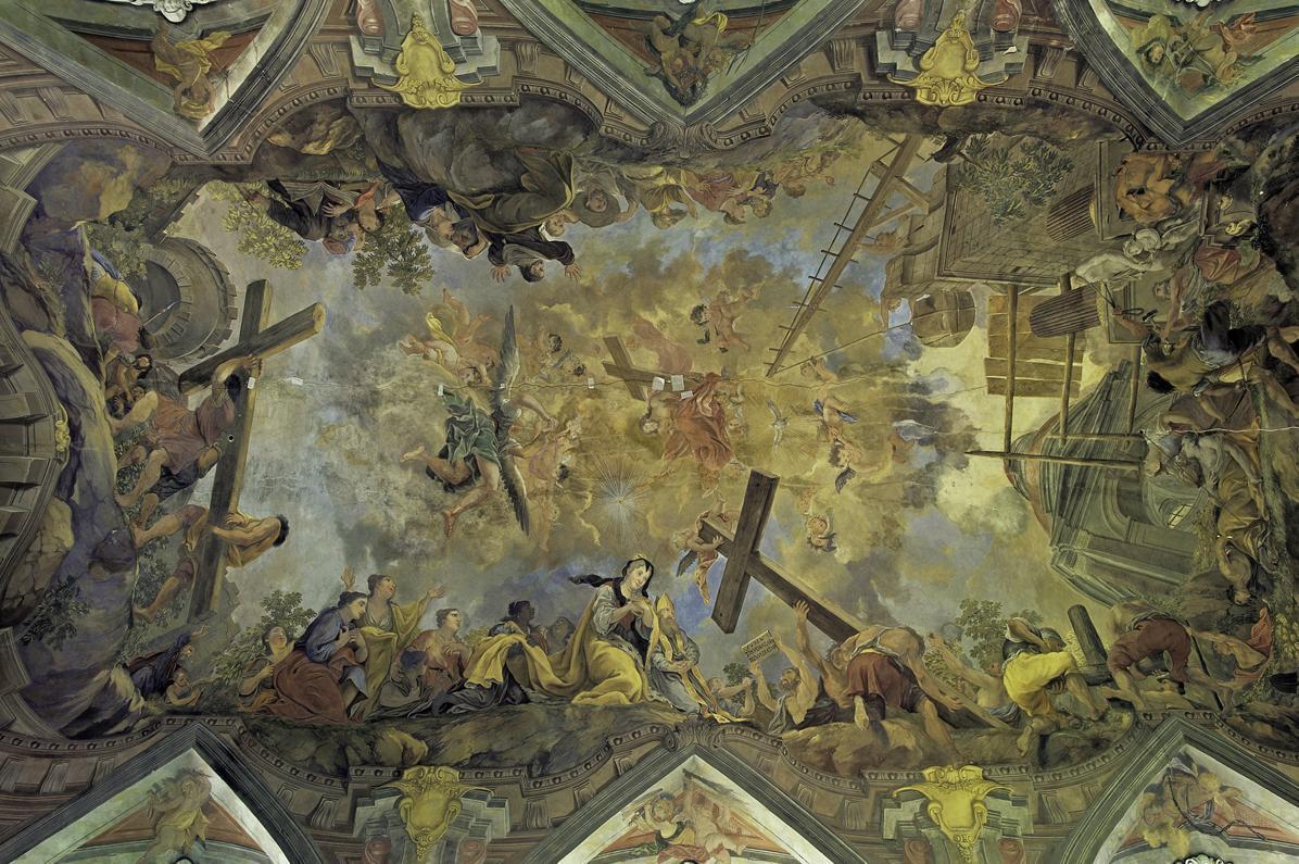 Kreuzlegende, Deckengemälde der Schlosskirche Rastatt, Johann Hiebel, 1722