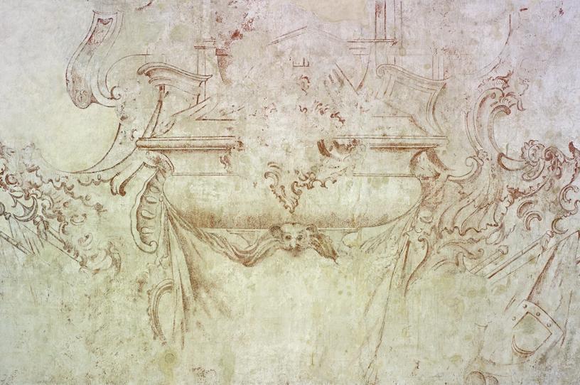 Skizze vom geplanten Grabmal für den Türkenlouis auf einer Wand im Erdgeschoss von Schloss Rastatt, 18. Jahrhundert; Foto: Staatliche Schlösser und Gärten Baden-Württemberg, Arnim Weischer