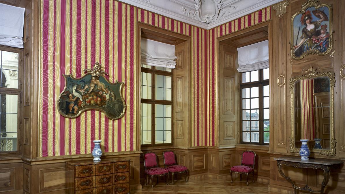 Raumansicht des Dritten Zimmers im Appartement der Markgräfin; Foto: Staatliche Schlösser und Gärten Baden-Württemberg, Arnim Weischer