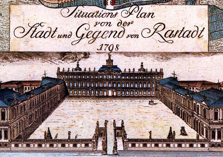 Plan von Schloss und Garten Rastatt aus dem Jahr 1798