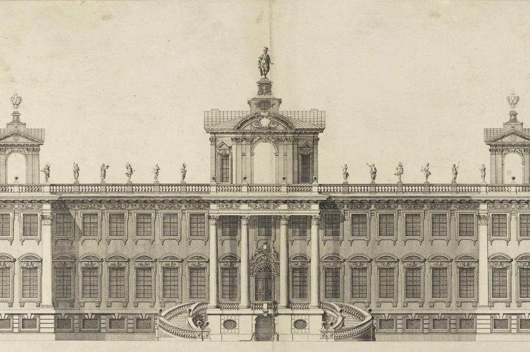 Hunting lodge, 1697 design, copper engraving circa 1705. Image: Staatliche Kunsthalle Karlsruhe