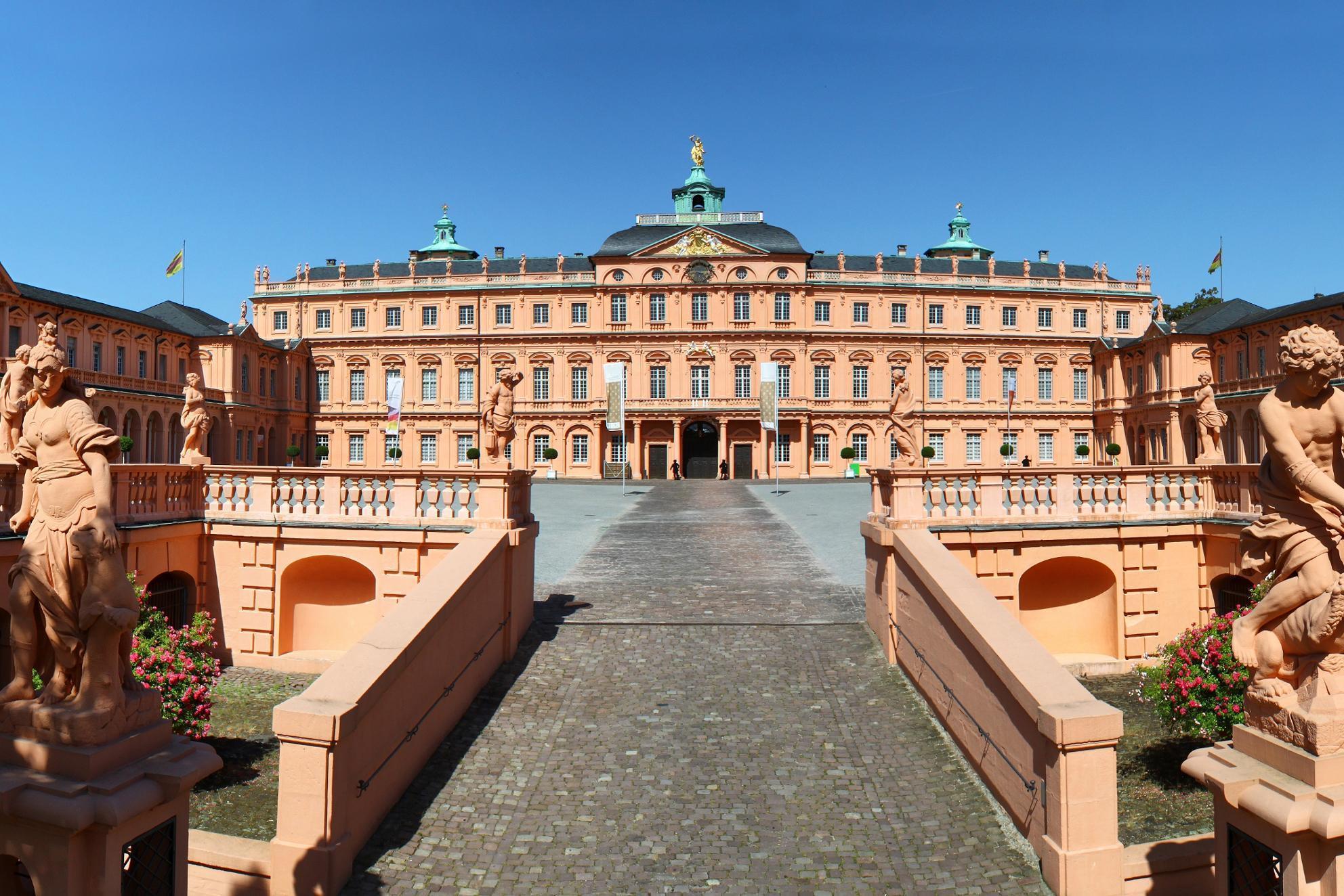Château résidentiel de Rastatt, escalier menant à la cour d'honneur; l'image: Aero-Südwest, Monika Schlangen