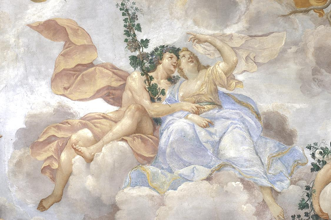 """Rastatt Residential Palace, detail from the ceiling fresco """"Bacchus and Ariadne"""" in the margravine's apartment, circa 1705"""