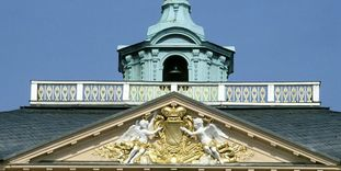 """Gable with Baden's coat of arms beneath the """"golden man,"""" Rastatt Residential Palace."""