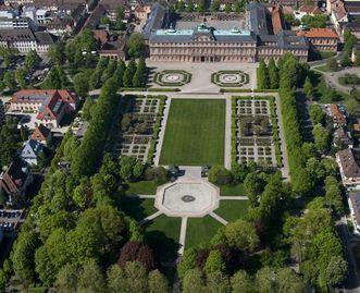 Luftaufnahme des Schlossgartens, Residenzschloss Rastatt
