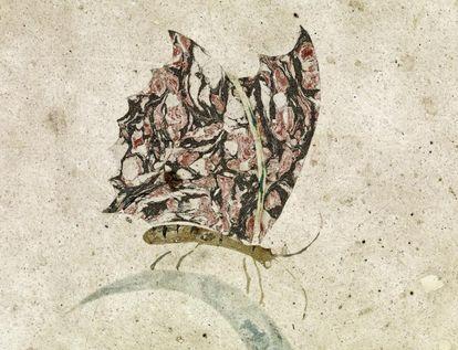 Schmetterling aus einer Steinlegearbeit im Fußboden des Florentiner Kabinetts im Schloss Favorite Rastatt, um 1720; Foto: Staatliche Schlösser und Gärten Baden-Württemberg, Arnim Weischer