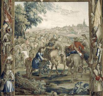 """""""Transport von Reisigbündeln"""", Szene aus der Kriegskunstserie, Wandteppich aus Wolle und Seide, Brüssel, um 1700"""