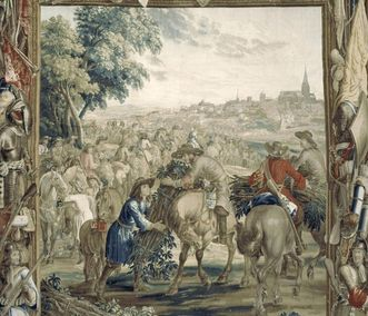 "Image: ""Transporting Fascines,"" scene from the Art of War series, wool and silk tapestry, Brussels, circa 1700, audience chamber in Rastatt Residential Palace"