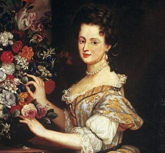 Detail of Anna Maria Franziska with flowers, painting circa 1690. Image: Staatliche Schlösser und Gärten Baden-Württemberg, Arnim Weischer