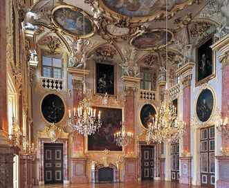 Image: Rastatt Residential Palace, interior view of ancestral hall with several portraits