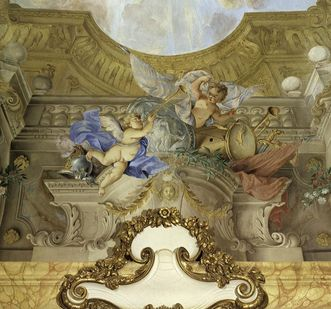 Detail view of architectural painting in the margravine's audience chamber
