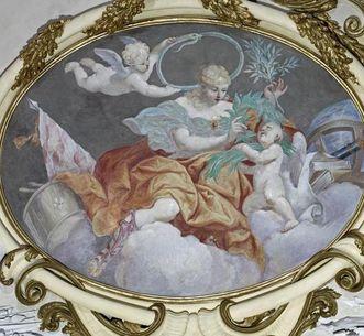 Darstellung der Macht, Medaillon im Deckengemälde des Ahnensaals, Giuseppe Roli, um 1705