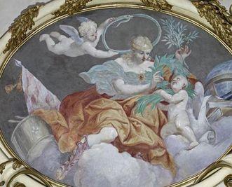 A representation of power, medallion in the ceiling fresco of the ancestral hall, Giuseppe Roli, circa 1705. Image: Staatliche Schlösser und Gärten Baden-Württemberg, Arnim Weischer