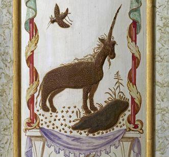 Licorne brune et oiseau, pilastre angulaire peint du Cabinet laqué, château résidentiel de Rastatt
