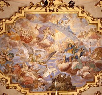 Rastatt Residential Palace, ceiling fresco in the ancestral hall: Hercules ascends to Olympus, Giuseppe Roli, circa 1704. Image:  Landesmedienzentrum Baden-Württemberg, Lutz Hecker