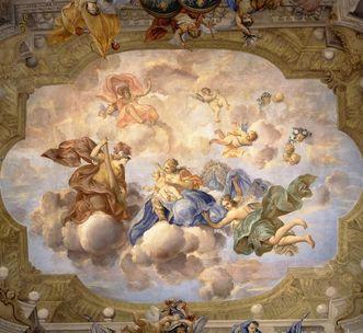 """Rastatt Residential Palace, """"Raising Hercules"""", ceiling fresco in the margravine's audience room. Image: Staatliche Schlösser und Gärten Baden-Württemberg, credit unknown"""