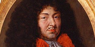 Detail of the portrait of Louis XIV, end of the 17th century.