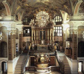 Interior view of Rastatt Palace Church. Image: Landesamt für Denkmalpflege Baden-Württemberg, Bernd Hausner