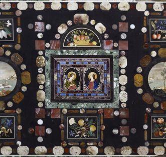 Vue détaillée: Antependium en panneaux de pietra dura, église du château de Rastatt