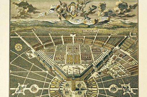 Vogelschauplan von Residenzschloss und Stadt Karlsruhe, Kupferstich nach Christian Thran, 1739