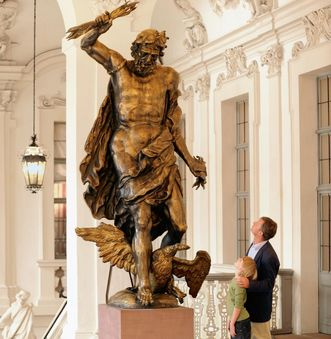 Original Jupiter statue in the ancestral hall antechamber, Rastatt Residential Palace. Image: Staatliche Schlösser und Gärten Baden-Württemberg, Niels Schubert