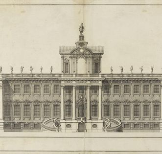1697 hunting lodge, copper engraving circa 1705, Domenico Egidio Rossi. Image: Staatliche Kunsthalle Karlsruhe