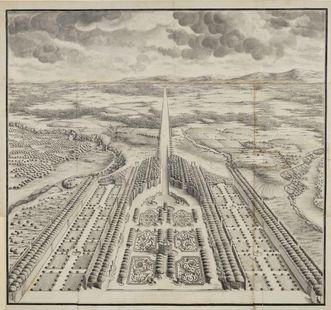 Entwurf für den Rastatter Schlossgarten, Federzeichnung, 18. Jahrhundert