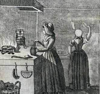 "Drawing of the ""Kitchen pocketbook for women for the daily selection of meals, 1796"". Image: Wikipedia, in the public domain"