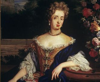 Detail view of Sibylla Augusta in a lavish, off-the-shoulder dress, painting circa 1690. Image: Staatliche Schlösser und Gärten Baden-Württemberg, Arnim Weischer