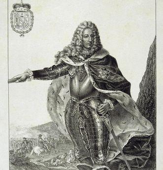 Markgraf Ludwig Wilhelm als Generalleutnant in Rüstung, Lithografie; Foto: Staatliche Schlösser und Gärten Baden-Württemberg, Arnim Weischer
