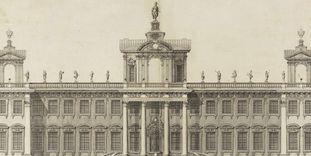 Hunting lodge, 1697 design, copper engraving circa 1705.