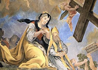 Finding of the Cross by Empress Helena with the facial features of Sibylla Augusta, detail from the ceiling fresco in the palace church. Image: Staatliche Schlösser und Gärten Baden-Württemberg, credit unknown