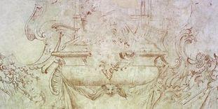 Skizze vom geplanten Grabmal für den Türkenlouis auf einer Wand im Erdgeschoss von Schloss Rastatt, 18. Jahrhundert