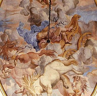 Image: Ceiling fresco over the south staircase: The Fall of Phaeton, Paolo Manni, circa 1700