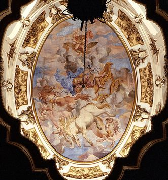 Ceiling fresco over the south staircase: The Fall of Phaeton, Paolo Manni, circa 1700. Image: Landesmedienzentrum Baden-Württemberg, Lutz Hecker