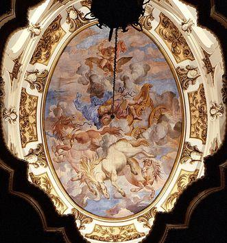 Deckenfresko im südlichen Treppenhaus: Sturz des Phaëton, Paolo Manni, um 1700; Foto: Landesmedienzentrum Baden-Württemberg, Lutz Hecker