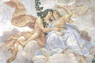 """Detail aus dem Deckengemälde """"Bacchus und Ariadne"""" im Appartement der Markgräfin, um 1705"""