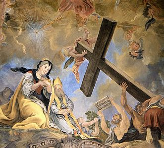 Residenzschloss Rastatt, Deckengemälde der Schlosskirche, Detail: Kreuzauffindung durch die Kaiserin Helena im Jahr 326