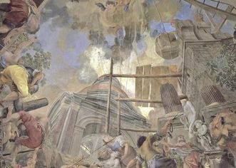Rastatt Residential Palace, destruction of the temple and construction of the church, detail of the ceiling fresco in the palace church in Rastatt. Image: Staatliche Schlösser und Gärten Baden-Württemberg, Lutz Altenkirch