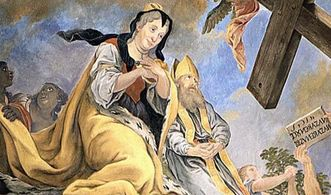 Rastatt Residential Palace, discovery of the cross by Empress Helena, detail of ceiling fresco in the palace church in Rastatt. Image: Staatliche Schlösser und Gärten Baden-Württemberg, credit unknown