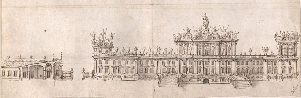 Rossi's sketches for Rastatt Palace, wash drawing based on Schönbrunn Palace, circa 1700. Image: Württembergische Landesbibliothek